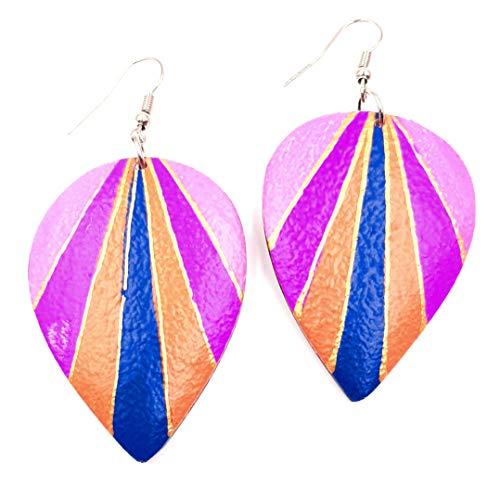 BALI PAPAYA Boucles d'oreilles en Bois Artisanale Ethnique Rose Bleu