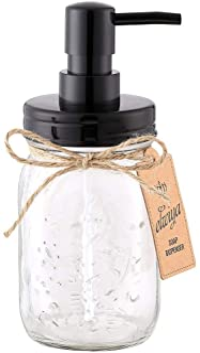 Elwiya Mason Jar Soap Dispenser - 16 Ounce Glass Mason Jar with Plastic Pump and Lid - Rust Proof - Rustic Bathroom Accessories &Kitchen Home Decor
