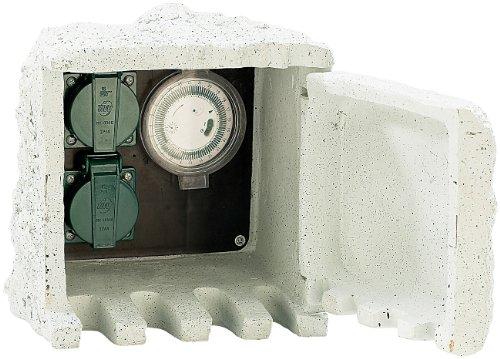 Royal Gardineer Steckdose Stein: Gartensteckdose mit Zeitschaltuhr IP44 / 230V (Stromverteiler Garten wasserdicht)