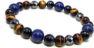 (SAJ) 合格祈願 タイガーアイ ラピスラズリ パワーストーン ブレスレット 天然石 数珠(17cm)