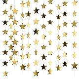 NITAIUN 65 Pies Guirnalda de Papel de Estrellas, Guirnalda Estrella Colgante, Guirnalda de Papel Decoración Estrella Papel Decoracion de Colgante para Fiesta Festival Boda Cumpleaños (Dorado)