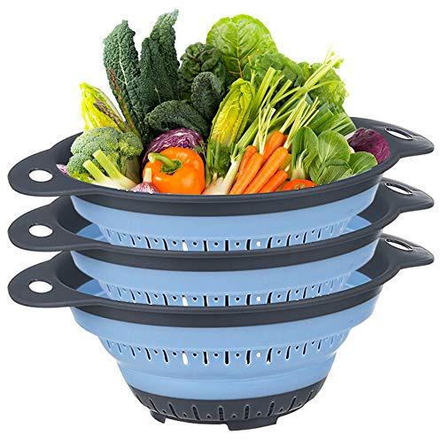 Filtro de Silicona Plegable LLMZ 3 Piezas Colador Plegable Filtro de Silicona Plegable, Portátil, Alimentos Escurridos, Frutas, Verduras, Filtro Plegable de Cocina Que Ahorra Espacio