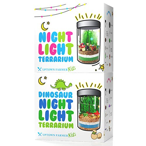 Uptown Farmer Bundle: Night Light and Dinosaur Terrarium Kits for Girls & Boys - Growing Kit & Crafts for Kids