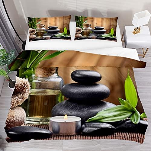 Juego de funda de edredón, juego de cama King 3 piezas, velas de piedras zen, juego de sábanas de bambú con fundas de almohada, decoración de habitación para niños, niñas, adolescentes y adultos