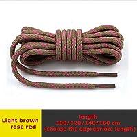 ZSKFS 1ペア高密度織り靴ラウンドファインテクスチャ靴紐アウトドアレジャースニーカーブーツ靴ひも120分の100/140 / 160cmのをひも (色 : Light brown rose red, サイズ : 140CM)