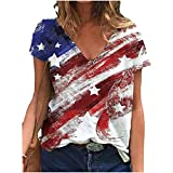 Oxodoi Independence Day T-Shirt Womens Summer Short Sleeve American Flag Blouse Patriotic Tunic Top Tie Dye Color Block Shirt Red