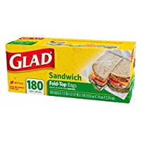Glad Fold Top Sandwich Bags, Plastic Bags 180-Count by Glad