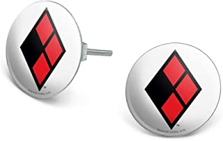 Harley Quinn Diamond Logo Novelty Silver Plated Stud Earrings