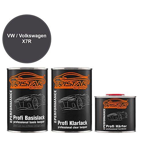 Preisvergleich Produktbild TRISTARcolor Autolack Set Dose spritzfertig für VW / Volkswagen X7R Monsungrau Metallic / Monsoon Grey Metallic Basislack + 2K Klarlack 2, 5L