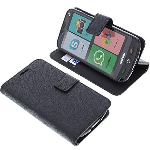 foto-kontor Custodia a Libro per Brondi Amico Smartphone 4G di Colore Nero (esclusivamente per la Versione 4G)