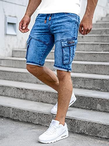 BOLF Hombre Pantalón Corto Vaquero Cargo Denim Shorts Bermudas Pantalón de Algodón Corto Sombreado Rotos Tejano Verano Slim Fit Estilo Urbano HY909 Azul Oscuro M [7G7]