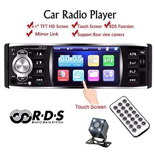 GOFORJUMP autoradio-speler autoradio 1 DIN 12 V 4,1 inch touchscreen auto audio spiegel Link RDS Bluetooth achteruitrijcamera autoradio