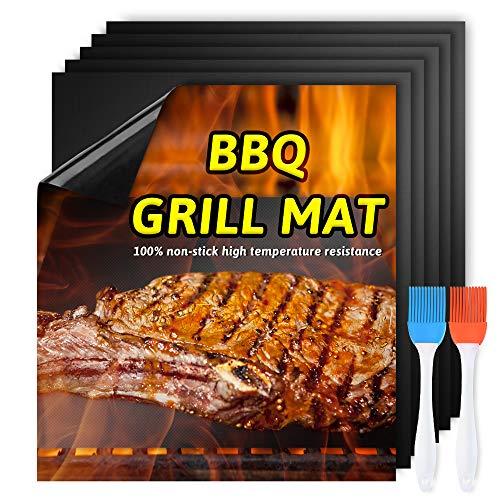 AISHNA BBQ Grillmatten,Antihaft Grill Mat, 6 Pack mat Antihaft Grill Backmatte, Reusable Grillmatte, Barbecue Mats, Für Gasgrill und Holzkohle,Ofen Backunterlage Gas. (Grillmatte)