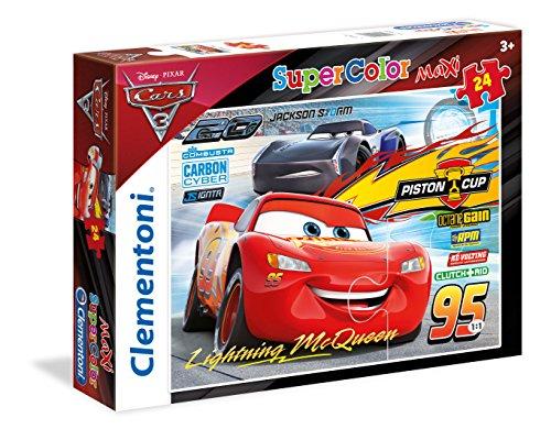Clementoni- Cars 3 Supercolor Puzzle, Multicolore, 24 Pezzi, 24489