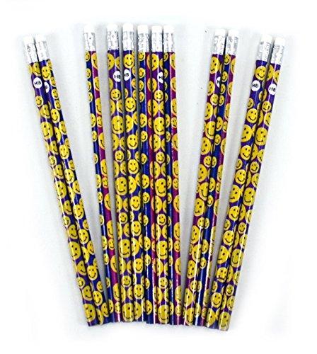 12er Set Bleistifte mit Radiergummi, mit Smileys