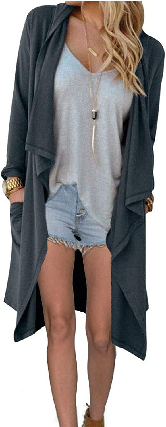 GEEK LIGHTING Women's Essential Solid Open Front Long Casual Drape Knited Cardigan Sweater