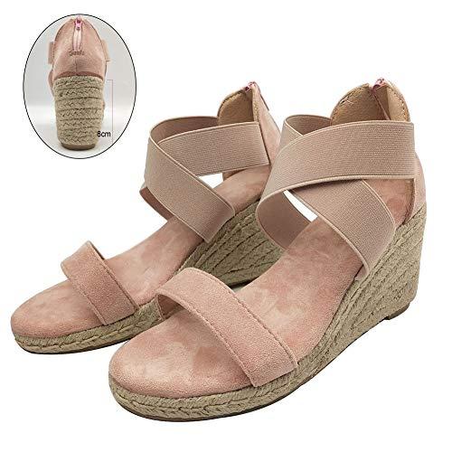 LiHong dames hoge hak wighak sandalen platformen zomer leer kant Romeinse gesp enkelriem hennep strandschoenen reizen verband breien