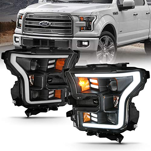 AmeriLite Black LED Tube Parking Light Bar Dual Quad Projector Replacement Headlights Set for 2015-2017 Ford F150 Pickup - Driver and Passenger Side