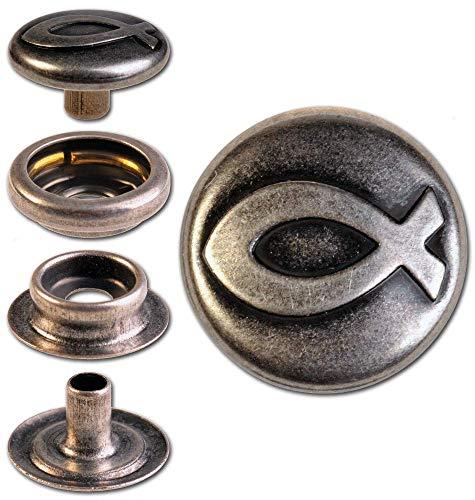"""Hoppe & Masztalerz 10 Ringfeder-Druckknöpfe """"F3"""" Christliches Fisch-Symbol 14mm aus Messing (nickelfrei), Finish: Silber-antik, Verschlusskraft: leicht"""