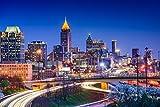 Atlanta Georgia Skyline Cityscape Illuminated at Night Landscape Photo Cool Huge Large Giant Poster Art 54x36