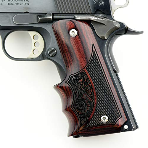 Altamont 1911 Grips - Fingergroove - Full Size 1911 Real Wood Gun Grips w. Ambi Safety fits Most Commander, Standard & Government 1911 Models - Made in USA - Rosewood - Engraved