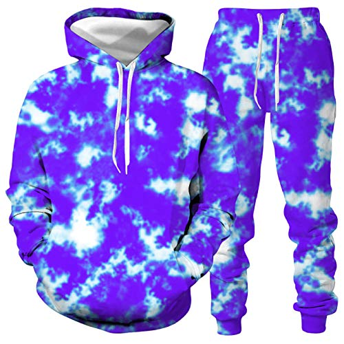 DREAMING-Corbata teñida otoño e invierno jersey de manga larga con capucha Top + pantalones ropa deportiva suéter casual para amantes XL