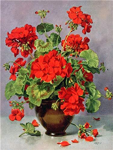 punto de cruz con tela estampada-Flor roja en maceta-Kits de bordado para principiantes, niños y adultos con patrón impreso de 11 quilates -40x50cm