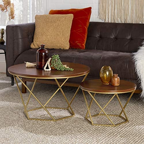 Best Walker Edison Furniture Company Modern Round Nesting Coffee Accent Table Living Room, Set of 2, Waln