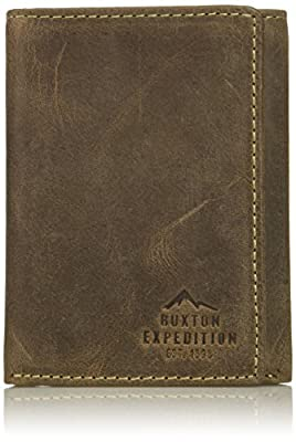 Buxton Men's Expedition Ii RFID Blocking Leather Three-fold Wallet, Walnut, One Size