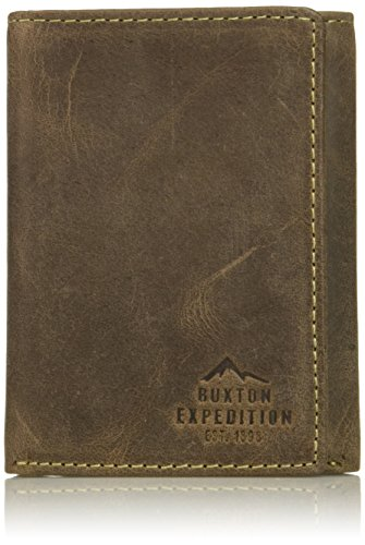 Buxton Men's Expedition Ii RFID Blocking Leather Three-fold Wallet, Walnut, One Size