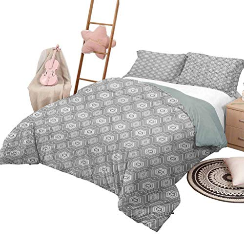 Daybed Quilt Set Grey and White Custom Bedding Machine Washable Abstract Pattern with Lots of Angular Elements A Kaleidoscope of Forms Queen Size Grey and White