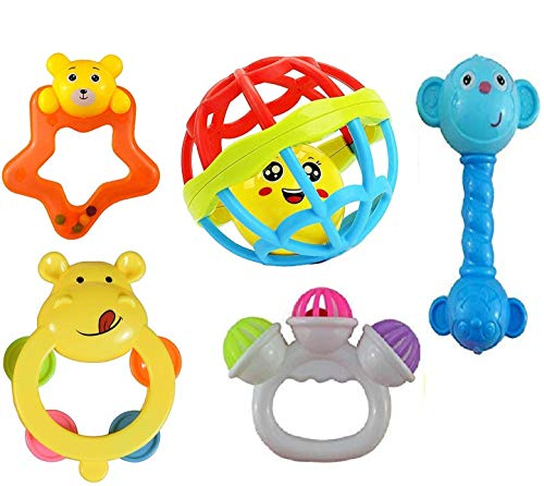Prime Deals Colourful Plastic Non Toxic BPA Set of 5 Attractive Rattle for New Borns and Infants