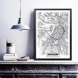 TeriliziAntwerpen Stadtplan Poster Leinwand Kunstdrucke