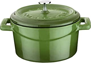 Enameled Cast Iron Mini Round Cookware Casserole Dish with Lid & Handles - 11.75 oz - Green - Pre-Seasoned – Oven Safe Up ...