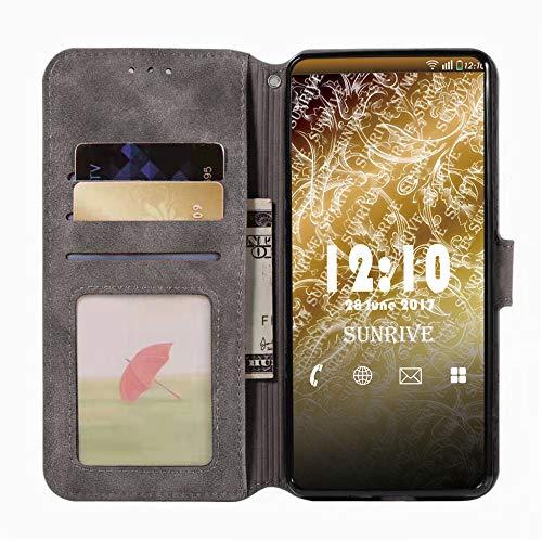 Sunrive Hülle Für Honor 4C/Huawei G Play Mini, Magnetisch Schaltfläche Ledertasche Schutzhülle Etui Leder Case Cover Handyhülle Tasche Schalen Lederhülle MEHRWEG(W8 Grau) - 3