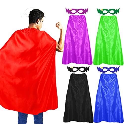 D.Q.Z Superhero-Capes and Masks for Adults Teens 5 Bulk Pack Men Women...