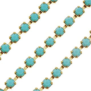 Beadaholique Czech Crystal Rhinestone Cup Chain, 18PP, Turquoise/Brass, by The Foot
