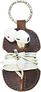 Rustic Leather Key Chain and Headphone Wrap Handmade by Hide and Drink :: Bourbon Brown