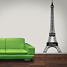 Style & Apply Eiffel Tower Wall Decal Paris Wall Decal, Mural Sticker, Vinyl Wall Art, Architecture Decor - 3810 - Dark Gray, 14in x 39in