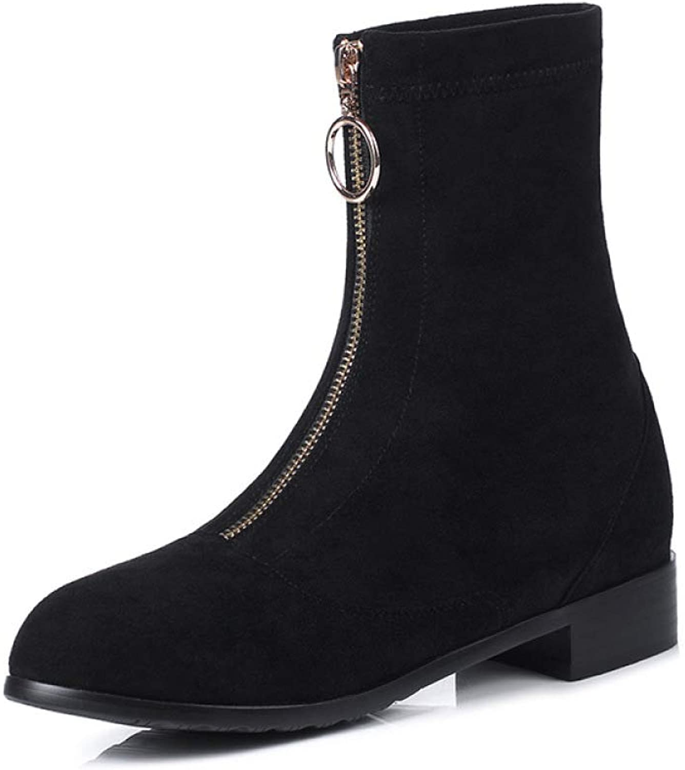 Women Suede Martin Boots 2018 Autumn Winter New Low-Heel Zipper Knight Boots Size 33-43 Ankle Boots