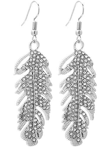 2LIVEfor Pendientes largos de plumas con purpurina, pendientes largos de plata con piedras, estilo antiguo, pendientes en forma de gota, pendientes étnicos plateados, plumas y alas de ángel