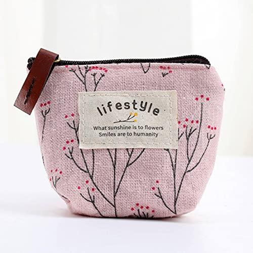 N\C Monedero de estilo Country nuevo con diseño de flores, bolso de tela mini de dibujos animados, monedero de tela lindo, monedero pequeño con cremallera