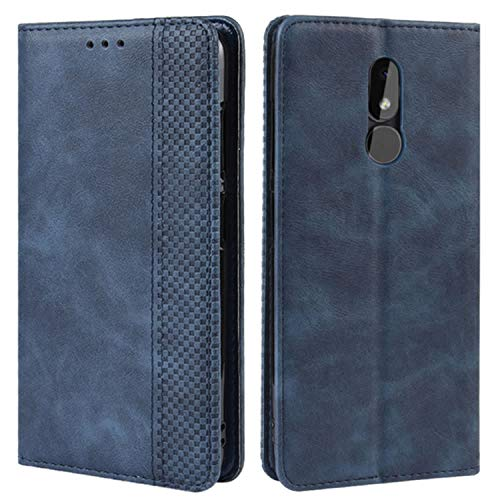HualuBro Handyhülle für Nokia 3.2 Hülle, Retro Leder Brieftasche Tasche Schutzhülle Handytasche LederHülle Flip Hülle Cover für Nokia 3.2 2019 - Blau