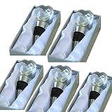 Paquete 5 Tapón de botella de acero inoxidable+cristal en forma de corazón para colección de vino tinto champán, sellador de ahorro de cerveza (corazón de cristal)