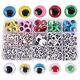 Zuzer Autoadhesivo Ojos,1500 Piezas Ojos Manualidades Grandes Manualidades Ojos Moviles Ojos de Plás...