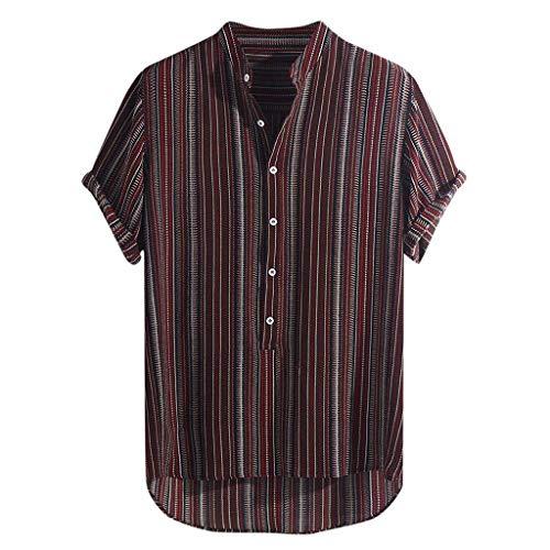 Lazzboy Uomo Camicia Top Multicolor Stripes/Color Block Plus Size Graffiti Manica Corta Bottoni Larghi Largo Bluse(3XL,Wine-Gessato)
