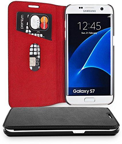 WIIUKA Echt Ledertasche -TRAVEL- für Samsung Galaxy S7 mit Kartenfach, extra Dünn, Tasche, RED Edition, Schwarz Rot, Leder Hülle kompatibel mit Samsung Galaxy S7