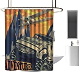 <span class='highlight'><span class='highlight'>TimBeve</span></span> Waterproof Shower Curtain Adventure,Grunge Retro Poster of a Big Car with Huge Tyres and Biplane on The Mountains, Orange Tan,Polyester Bathroom Shower Curtain Set with Hooks 36