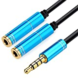 NANYI 3.5mm Audio Stereo Y Splitter Extension Cable 3.5mm Male to 2 Port 3.5mm Female for Earphone, Headset Splitter Adapter, Compatible for iPhone, Samsung, LG, Tablets, MP3 Players, (Bule-1FT)