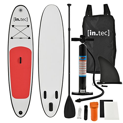 [in.tec] SUP - Stand Up Paddle gonfiabile - Paddle Board - 305 x 71 x 10cm - Rosso- Remo in alluminio - Pompa manuale